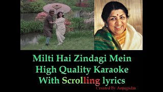milti hai zindagi mein || Ankhen ||  karaoke with scrolling lyrics (High Quality)