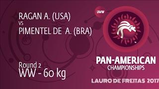 Round 2 WW - 60 Kg: A. RAGAN (USA) Df. A. PIMENTEL DE  (BRA) By FALL, 6-0