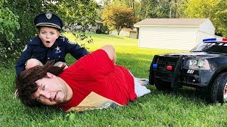 Sketchy runs from the cop Police Chase for missing IPad pretend play skit