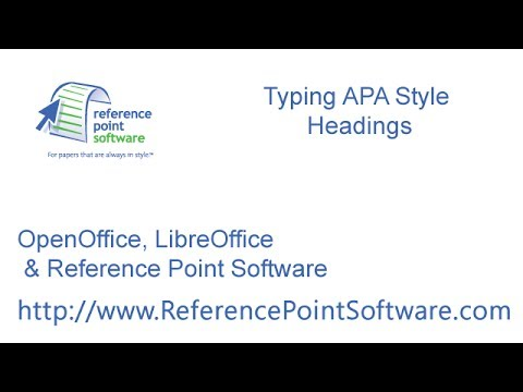 type apa style headings with openoffice or libreoffice youtube