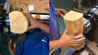 Woodturning a winged table top lamp. Tournage sur bois d'une lampe de table.