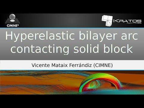 Hyperelastic bilayer arc contacting solid block