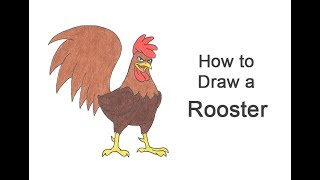 How to Draw a Rooster (Cartoon)