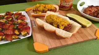 Jalapeno Poppers & Cheese Stuffed Brats - Football Finger Food