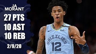 Ja Morant gets first triple-double, comes through in the clutch vs. Wizards | 2019-20 NBA Highlights
