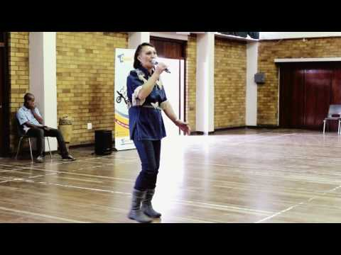 """South African music, """"Shine"""" talent search, Kimberley: Maria with """"Gee vir my 'n bietjie country""""."""