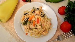 Спагетти с курицей и овощами|Spaghetti with chicken and vegetables