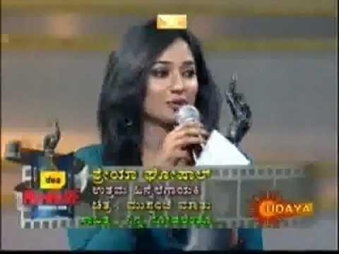 Shreya Ghoshal wins for Ninna-Nodalenthu - kannada award