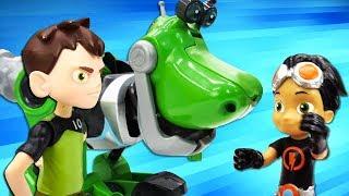 Видео для мальчиков про игрушки. Расти Механик работает в мастерской! Бен Тен и его друзья!