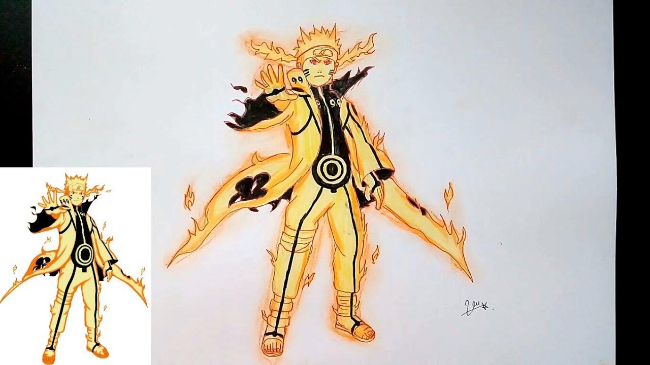 Vẽ Uzumaki Naruto cửu vĩ trong Naruto shippuden | Draw | Anh vũ art