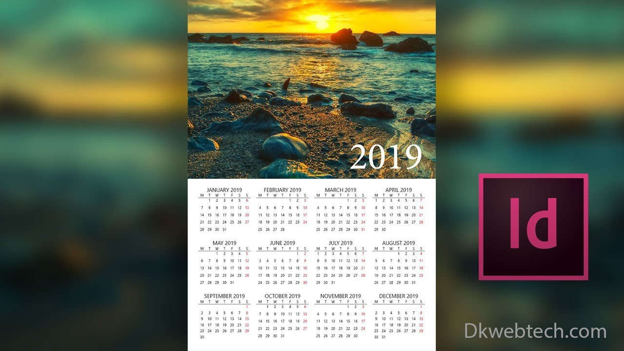 new year 2019 calendar design in adobe indesign in hindi
