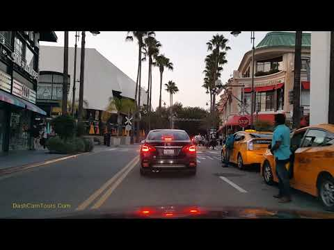 Driving Tour: Los Angeles, Helicopter Above Shopping Mall, Movie Filming on Sunset Strip