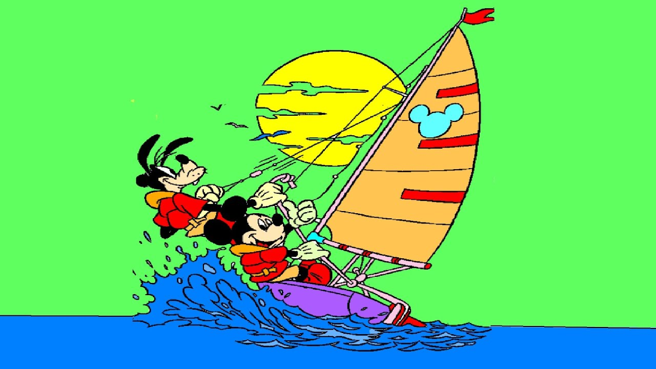 mickey mouse and goofy sailing on a boat coloring pictures for