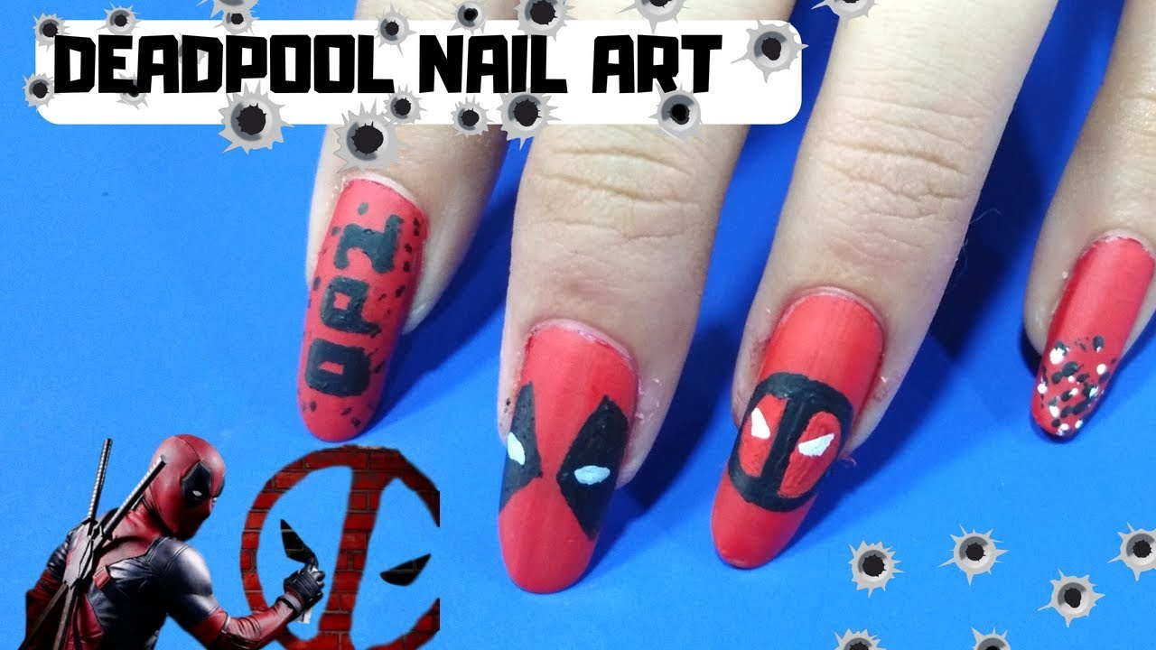 DEADPOOL 2 Nail Art I Deadpool 2 inspired Nails - DEADPOOL 2 Nail Art I Deadpool 2 Inspired Nails - YouTube