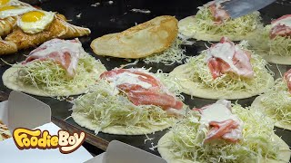 Korean Street Food | Cabbage Omelette in Myeong-Dong, Seoul Korea