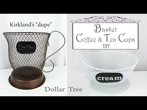 Dollar Tree DIY Basket Coffee & Tea Cups / Basket Storage