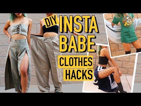 DIY MENS CLOTHES TO INSTAGRAM BADDIE CLOTHING HACKS! | Nava Rose