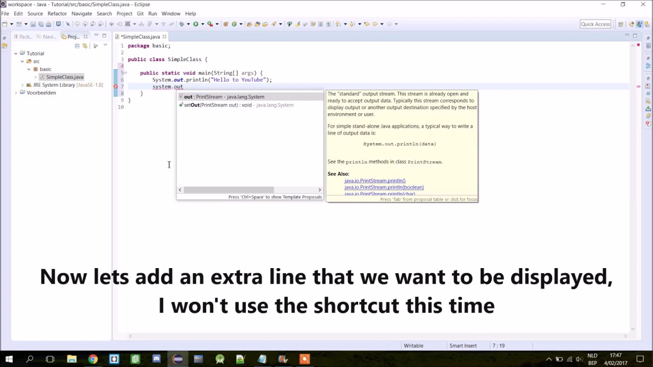 Java tutorial 2 how to make your first java program youtube java tutorial 2 how to make your first java program baditri Gallery