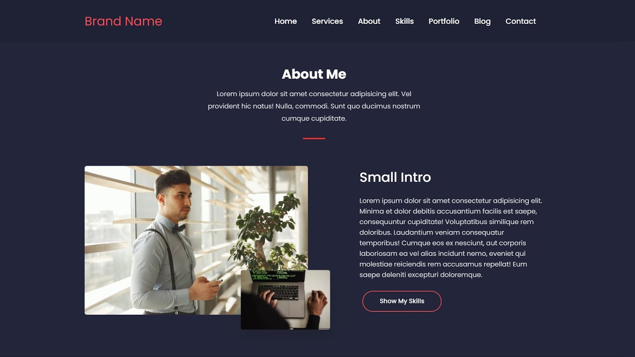 Responsive Personal Portfolio using HTML, CSS and jQuery |  Part - 4 (About Us Section)