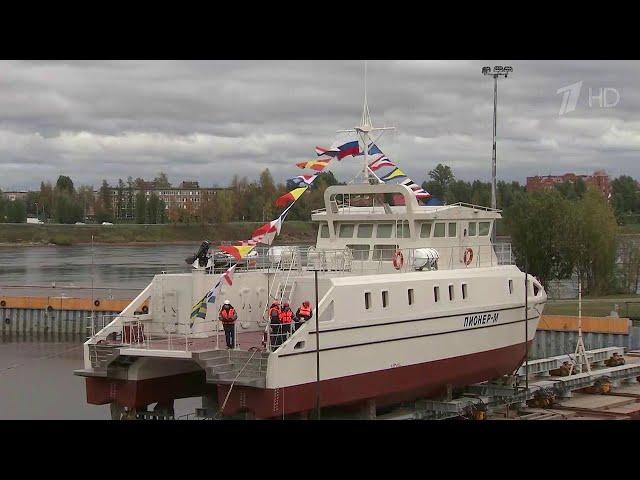 """В Петербурге спустили на воду уникальное научно-исследовательское судно """"Пионер-М""""."""
