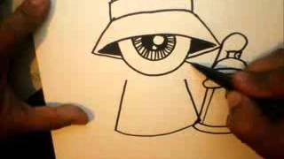 How to Draw   One eye Gangsta with a spraycan and a marker