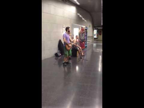Barcelona train station buskers