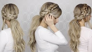 HOW TO: Voluminous Messy Ponytail & Braid Detailing | Long medium hair