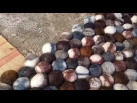 Making A Natural Pebble Stone Felt Ball Rug