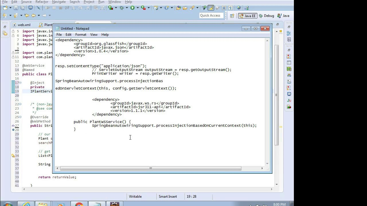 Create a JAX-RS Web Service Server in Eclipse with WSDL, Axis, Tomcat,  Spring Injection