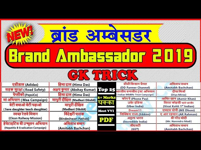 gk tricks : ब्रांड एम्बेसडर 2019 | Brand Ambassador 2019 Trick | in Hindi Study Corner
