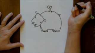 How To Draw A Cartoon Hippopatmus Hippo Baby Step By Step