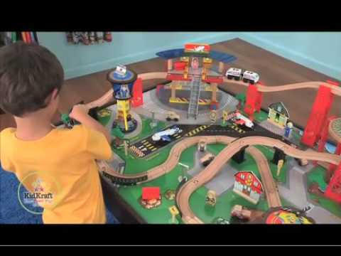Airport Express Train Set and Table - Espresso by KidKraft - YouTube
