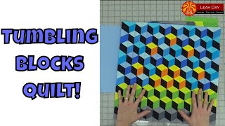 How to Make a Tumbling Blocks Quilt with No Y-Seams!