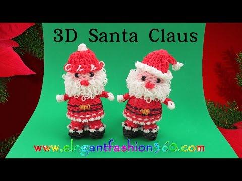 Rainbow Loom Santa Claus 3D Charm/Holiday/Christmas/Ornament - How to Loom Bands Tutorial