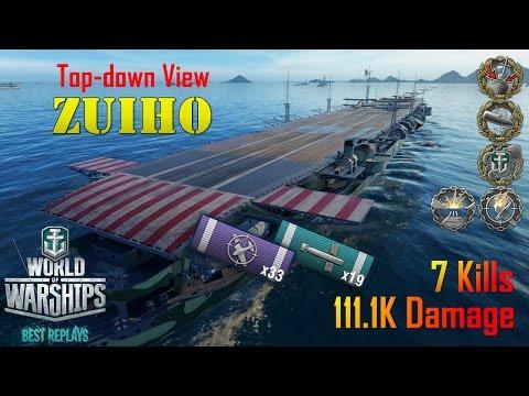 World of Warships - Zuiho - 1,734 Base XP, 7 Kills, 111.1K Dmg [Top-down View]