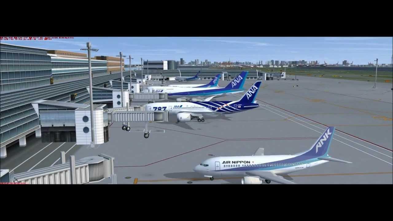 FSX Tokyo Haneda INTL Airport New Scenery Rwy 05 ANA B787 Dep