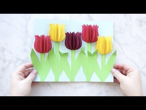 Gorgeous 3D Paper Tulip Flower Craft