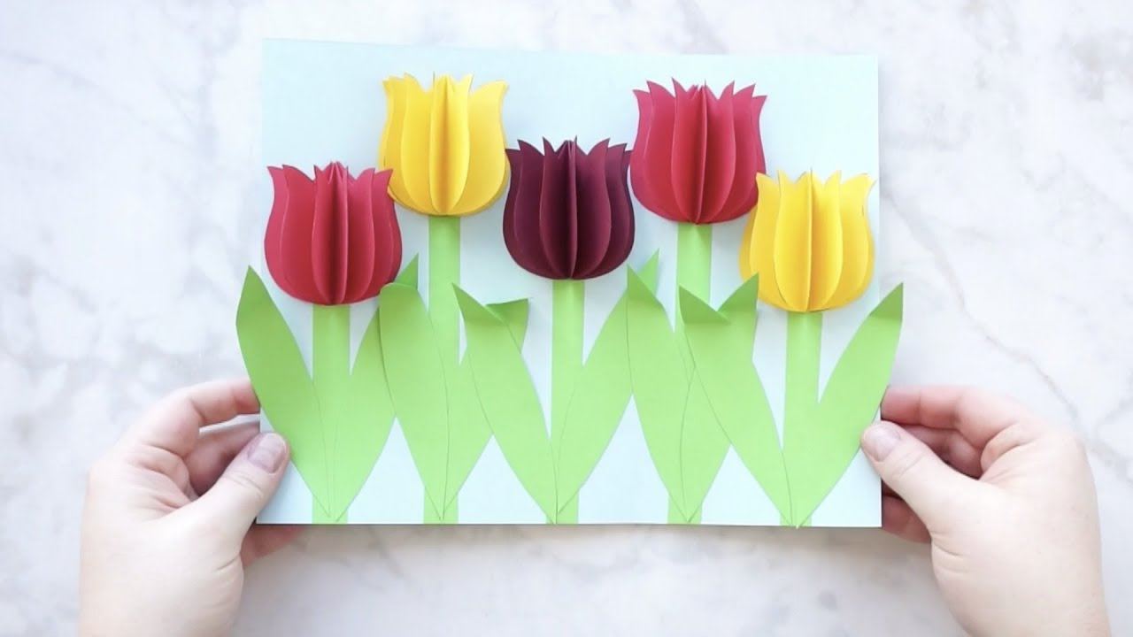 Gorgeous 3d Paper Tulip Flower Craft Youtube