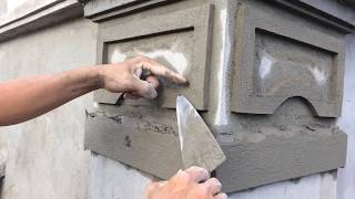 Amazing House Construction - Rendering Sand and Cement On Concrete Or Column Final