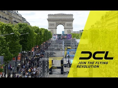 VR view of the DCL drone racing track in Paris