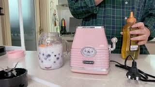 첫영상/키친플라워 레트로 믹서 후기(냉동딸기블루베리 스…