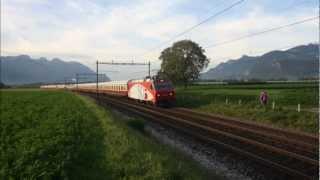 Re 456 142-9 avec le TEE Rheingold à Bex.
