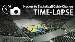NHL Hockey to NBA Basketball Quick Changeover Time Lapse at American Airlines Center - Dallas, Texas