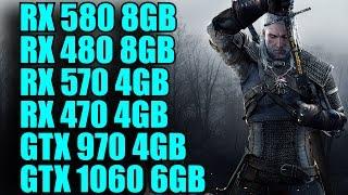 The Witcher 3 RX 580 8GB - RX 570 4GB - RX 480 8GB - RX 470 4GB - GTX 1060 6GB & GTX 970 COMPARISON