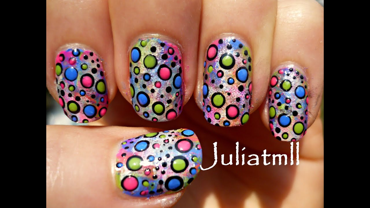 Crazy Polka Dot Nail Art Tutorial Youtube