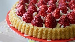 Schneller Erdbeerboden (Rezept)  Simple Strawberry Sponge Flan (Recipe)  ENG SUBS