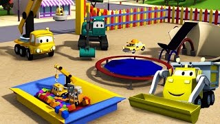 Construction Squad: Dump Truck, Crane and Excavator build a Trampoline for the babies in Car City