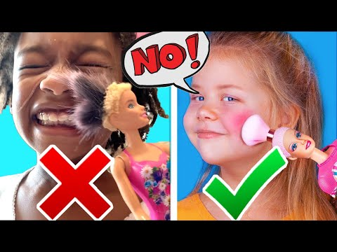 Naiah and Elli Try Never Too Old For Dolls! DIY Doll Makeup Ideas with Mom! Family Vlog