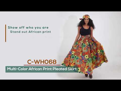 African skirt - pleated with African print fabric