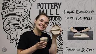 Hand Built Ceramic Paint Palette & Pinch Pot Cup